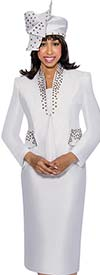 GMI G6303-White - Skirt Suit With Stud Detailed Star Neckline Jacket