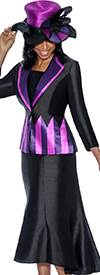 GMI G5553-BlackPurple - Womens Skirt Suit With Diamond Lapel Zig-Zag Print Jacket