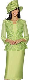 GMI G6813-Lime - Womens Skirt Suit With Brocade & Mesh Adorned Jacket