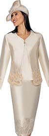 GMI G6823-Champagne - Ladies Jacket & Skirt Suit With Embroidered Accents
