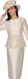 GMI G6842-Champagne - Womens Skirt Suit With Pattern Accented Jacket