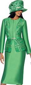 GMI G6842-Emerald - Womens Skirt Suit With Pattern Accented Jacket