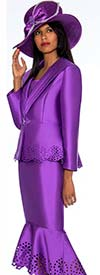 GMI G6643-Purple - Flounce Skirt Suit With Cut Out Design Trims