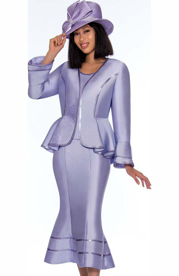 GMI G7023-Lilac - Flared Skirt Suit With Ruffled Peplum Style Jacket