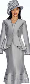 GMI G7023-Silver - Flared Skirt Suit With Ruffled Peplum Style Jacket
