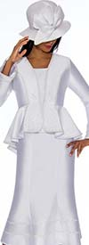 GMI G7023-White - Flared Skirt Suit With Ruffled Peplum Style Jacket