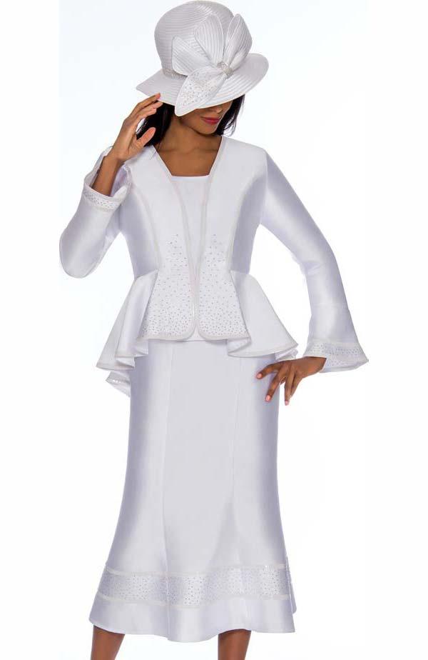 GMI G7023-White - Flared Skirt Suit With Ruffled Peplum Style Jacket