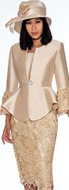 GMI G7032-Champagne - Lace Design Skirt Suit With Peplum Jacket