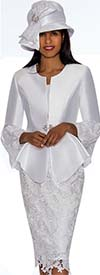 GMI G7032-White - Lace Design Skirt Suit With Peplum Jacket