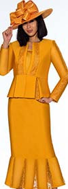 GMI G7123-Gold - Lace Godet Pleated Skirt Suit With Peplum Style Jacket