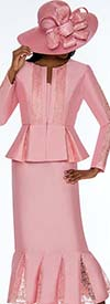 GMI G7123-Pink - Lace Godet Pleated Skirt Suit With Peplum Style Jacket