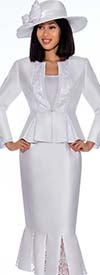 GMI G7123-White - Lace Godet Pleated Skirt Suit With Peplum Style Jacket