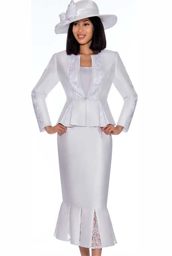 GMI G7123-White - Lace Godet Pleated Skirt Suit With Peplum Style Jacket