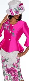 GMI G7162-Magenta - Floral Print Skirt Suit With Bell Cuff Peplum Style Jacket
