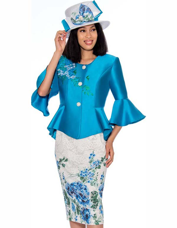 GMI G7162-Royal - Floral Print Skirt Suit With Bell Cuff Peplum Style Jacket