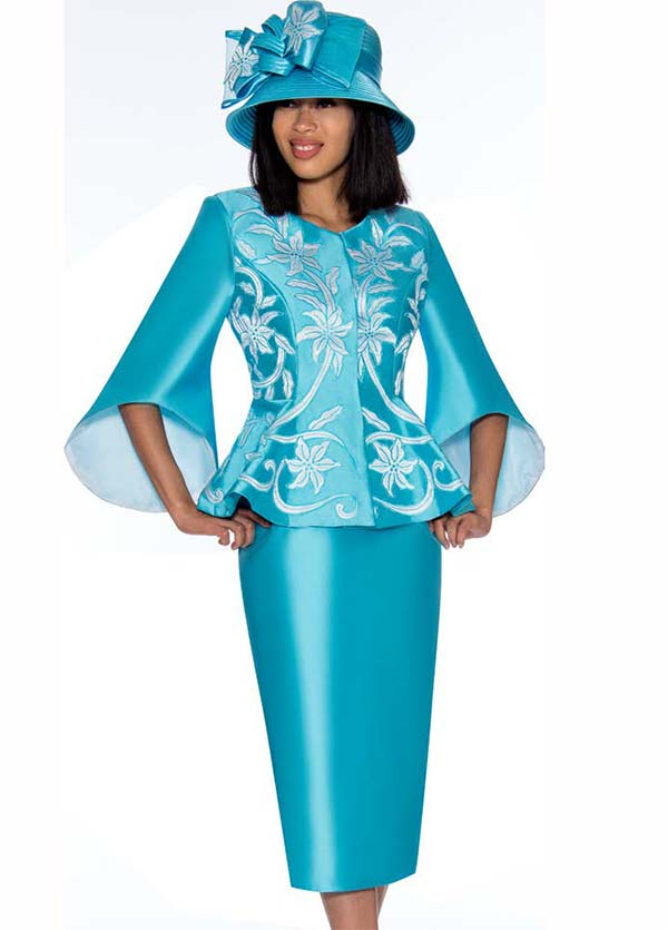 GMI G7172-Turquoise - Floral Design Skirt Suit With Wide Bell Sleeve Peplum Jacket