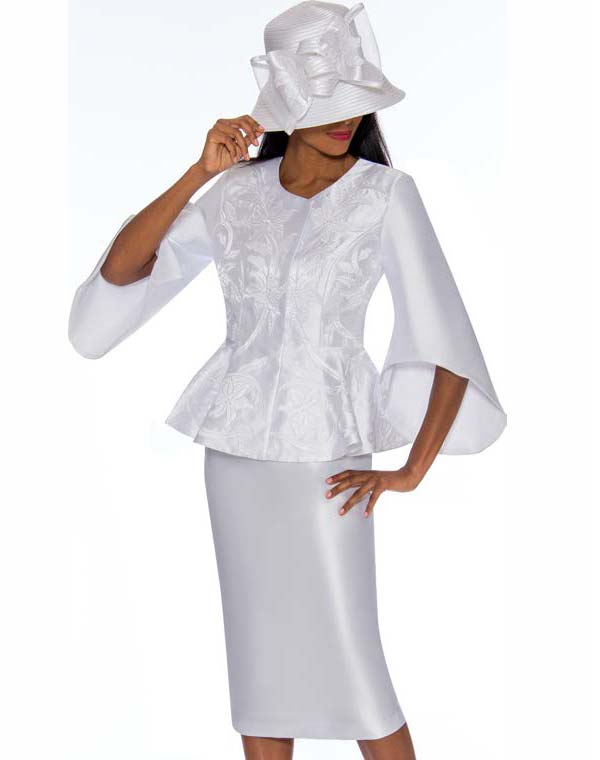 GMI G7172-White - Floral Design Skirt Suit With Wide Bell Sleeve Peplum Jacket