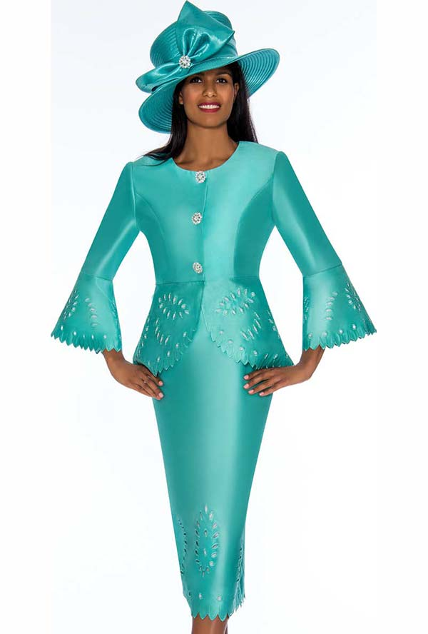 GMI G7192-Seafoam - Skirt Suit With Peplum Jacket Featuring Cut Out Design Trims