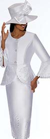 GMI G7192-White - Skirt Suit With Peplum Jacket Featuring Cut Out Design Trims