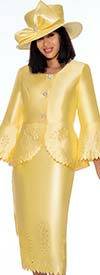 GMI G7192-Yellow - Skirt Suit With Peplum Jacket Featuring Cut Out Design Trims