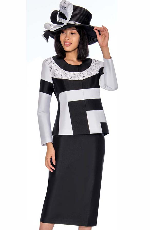 GMI G7212-BlackWhite - Color Block Design Skirt Suit With Embellished Jacket