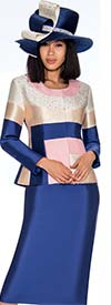 GMI G7212-PinkNavy - Color Block Design Skirt Suit With Embellished Jacket