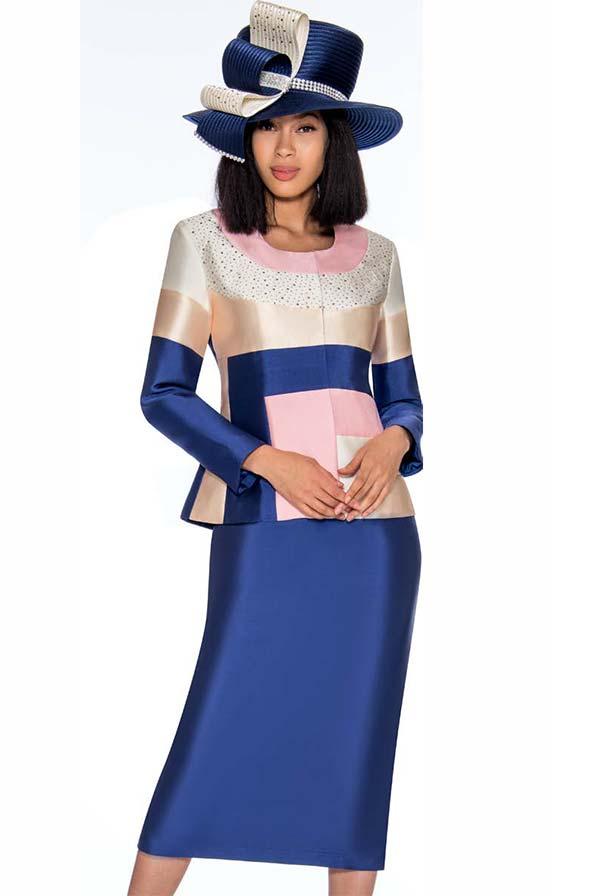 GMI G7212-PinkNavy - Color Block Design Skirt Suit With Embellished Jacket