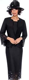 GMI G7253-Black - Cut-Out Design Skirt Suit With Peplum Style Jacket
