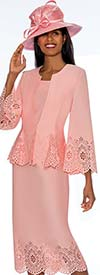 GMI G7253-Pink - Cut-Out Design Skirt Suit With Peplum Style Jacket