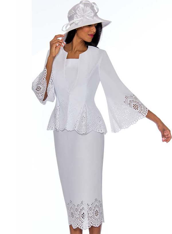 GMI G7253-White - Cut-Out Design Skirt Suit With Peplum Style Jacket