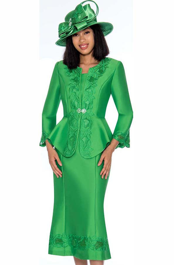 GMI G7302-Emerald - Embroidery Design Flared Skirt Suit With Peplum Style Jacket