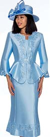 GMI G7302-Perri - Embroidery Design Flared Skirt Suit With Peplum Style Jacket