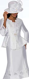 GMI G7302-White - Embroidery Design Flared Skirt Suit With Peplum Style Jacket
