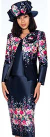 GMI G7313 - Floral Print Three Piece Skirt Suit For Women