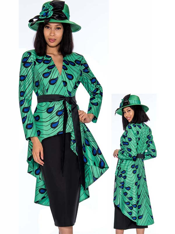 GMI G7362-Green - Womens Skirt Suit With Extended Peplum Style Jacket