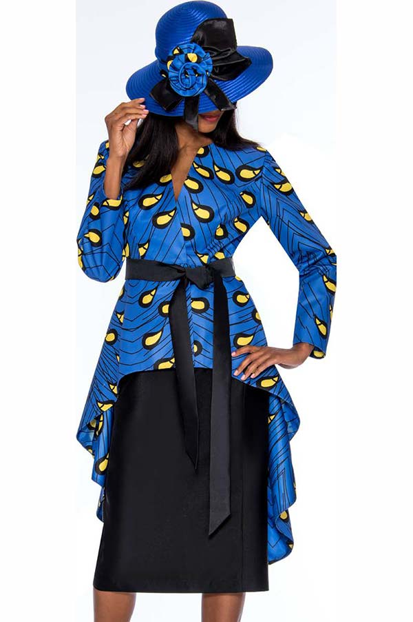GMI G7362-Royal - Womens Skirt Suit With Extended Peplum Style Jacket
