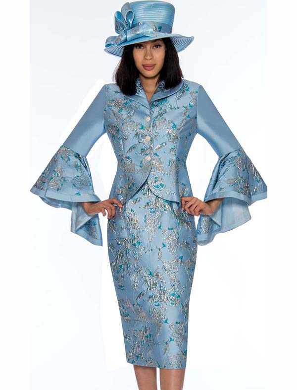 GMI G7372-Blue - Floral Print Skirt Suit With Wide Bell Sleeves