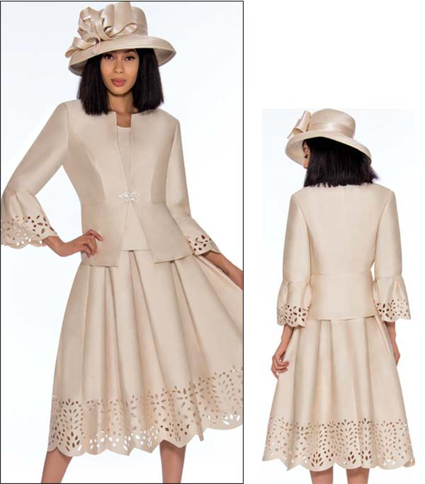 GMI G7383-Champagne - Pleated Skirt Suit Featuring Cut Out Design Trims