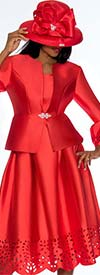 GMI G7383-Red - Pleated Skirt Suit Featuring Cut Out Design Trims