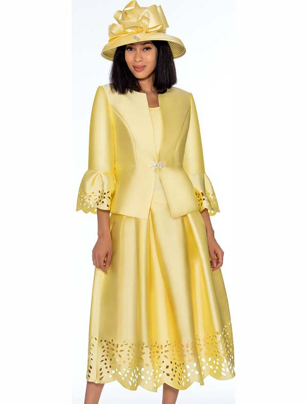 GMI G7383-Yellow - Pleated Skirt Suit Featuring Cut Out Design Trims