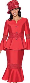 GMI G6732-Red - Flounce Hem Skirt Suit With Peplum Jacket & Bell Cuff Sleeves