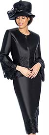 GMI G6772-Black - Skirt Suit With Peplum Jacket & Floral Trim Design