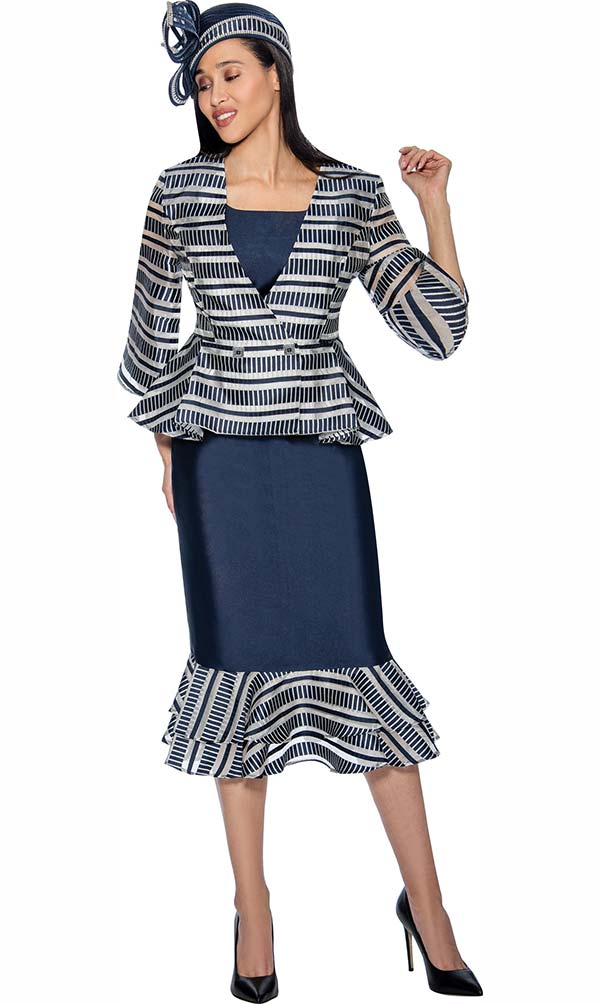 GMI G6833-Navy - Womens Layered Flounce Skirt Suit With Striped Peplum Jacket