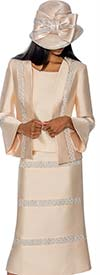 GMI G6863-Champagne - Embellished Skirt Suit With Bell Sleeve Cuff Jacket