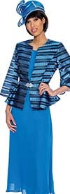 GMI G6903-Royal - Womens Skirt Suit With Peplum Jacket & Striped Design
