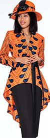 GMI G7362-Orange - Womens Skirt Suit With Extended Peplum Style Jacket