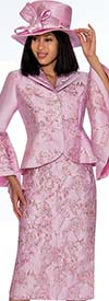 GMI G7372-Pink - Floral Print Skirt Suit With Wide Bell Sleeves