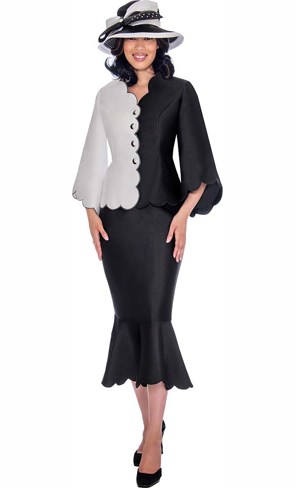 GMI G7472-BlackWhite - Jacket And Flounce Skirt Suit With Scalloped Trim Design