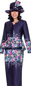 GMI G7483-Purple - Floral Print Peplum Jacket & Skirt Set