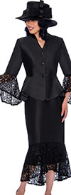 GMI G7552-Black - Womens Suit With Lace Flounce Skirt Hem & Jacket Sleeve Cuffs